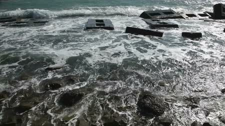 groyne : Sea with breakwaters in a storm Stock Footage