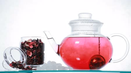 hibiscus tea : red Hibiscus tea  in the glass teapot