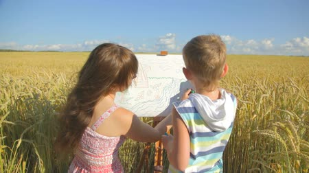fejlesztése : Young woman with little boy completing their art on white paper canvas in front of wheat field, communicating, enjoying free time, smiling.