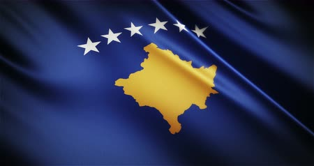 stilize : Kosovo national flag seamless looping waving animation, the best choice for presentation! Stok Video