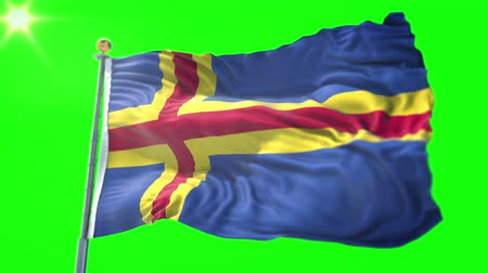 árbocszalag : Aland islands flag seamless looping 3D rendering video. 3 in 1: Includes isolated on green screen and alpha channel as luma matte for easy clipping in AE. Beautiful textile cloth fabric waving