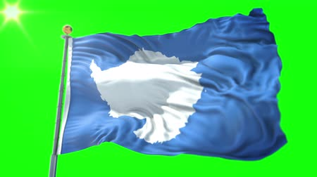 stilize : Antarctica flag seamless looping 3D rendering video. 3 in 1: Includes isolated on green screen and alpha channel as luma matte for easy clipping in AE. Beautiful textile cloth fabric waving