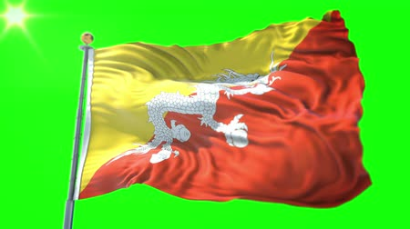bhutan : Bhutan flag seamless looping 3D rendering video. 3 in 1: Includes isolated on green screen and alpha channel as luma matte for easy clipping in AE. Beautiful textile cloth fabric waving