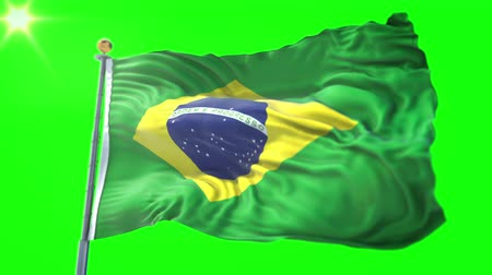 stilize : Brazil flag seamless looping 3D rendering video. 3 in 1: Includes isolated on green screen and alpha channel as luma matte for easy clipping in AE. Beautiful textile cloth fabric waving Stok Video