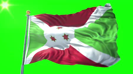 árbocszalag : Burundi flag seamless looping 3D rendering video. 3 in 1: Includes isolated on green screen and alpha channel as luma matte for easy clipping in AE. Beautiful textile cloth fabric waving