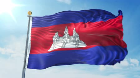 Cambodia flag seamless looping 3D rendering video. 3 in 1: clipping in ae. Beautiful textile cloth loop waving isolated Stock Footage