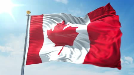 kırpma : Canada flag seamless looping 3D rendering video. 3 in 1: clipping in ae. Beautiful textile cloth loop waving