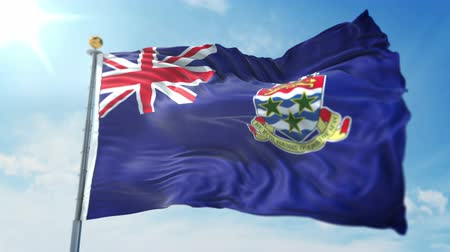 Cayman Islands flag seamless looping 3D rendering video. 3 in 1: clipping in ae. Beautiful textile cloth loop waving