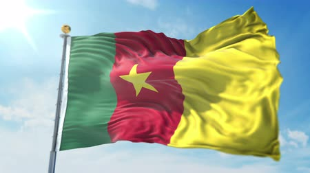 Cameroon flag seamless looping 3D rendering video. 3 in 1: clipping in ae. Beautiful textile cloth loop waving