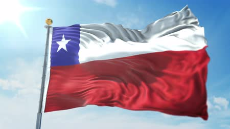глянцевый : Chile flag seamless looping 3D rendering video. 3 in 1: clipping in ae. Beautiful textile cloth loop waving
