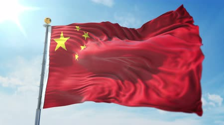 China flag seamless looping 3D rendering video. 3 in 1: clipping in ae. Beautiful textile cloth loop waving Stock Footage