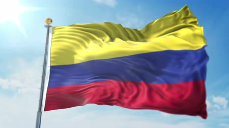 Colombia flag seamless looping 3D rendering video. 3 in 1: clipping in ae. Beautiful textile cloth loop waving Stock Footage