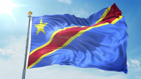 Democratic Republic of the Congo flag seamless looping 3D rendering video. 3 in 1: clipping in ae. Beautiful textile cloth loop waving