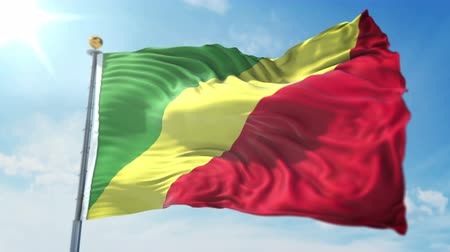 kırpma : Congo flag seamless looping 3D rendering video. 3 in 1: clipping in ae. Beautiful textile cloth loop waving Stok Video