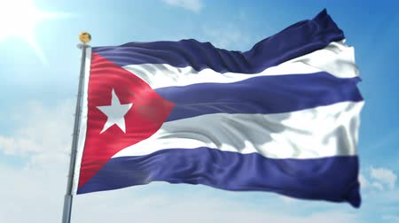 Cuba flag seamless looping 3D rendering video. 3 in 1: clipping in ae. Beautiful textile cloth loop waving