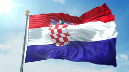 Croatia flag seamless looping 3D rendering video. 3 in 1: clipping in ae. Beautiful textile cloth loop waving Stock Footage