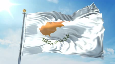 Cyprus flag seamless looping 3D rendering video. 3 in 1: clipping in ae. Beautiful textile cloth loop waving