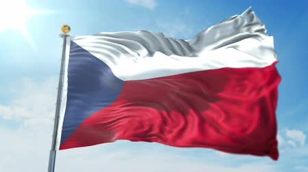 Czech Republic flag seamless looping 3D rendering video. 3 in 1: clipping in ae. Beautiful textile cloth loop waving