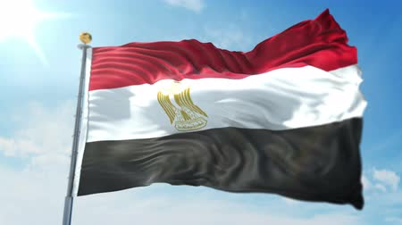 Egypt flag seamless looping 3D rendering video. 3 in 1: clipping in ae. Beautiful textile cloth loop waving