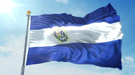 El Salvador flag 3 in 1: clipping in ae. Beautiful textile cloth loop waving