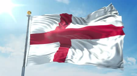kırpma : England flag seamless looping 3D rendering video. 3 in 1: clipping in ae. Beautiful textile cloth loop waving