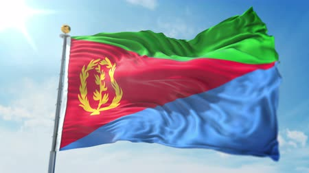kırpma : Eritrea flag seamless looping 3D rendering video. 3 in 1: clipping in ae. Beautiful textile cloth loop waving