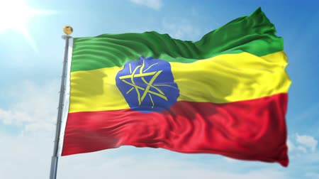Ethiopia flag seamless looping 3D rendering video. 3 in 1: clipping in ae. Beautiful textile cloth loop waving