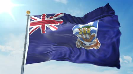 országok : Falkland Islands Malvinas flag seamless looping 3D rendering video. 3 in 1: clipping in ae. Beautiful textile cloth loop waving Stock mozgókép