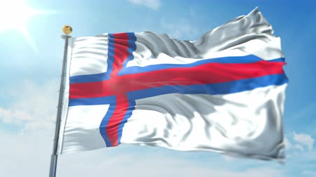 kırpma : Faroe Islands flag seamless looping 3D rendering video. 3 in 1: clipping in ae. Beautiful textile cloth loop waving