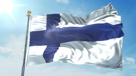 Finland flag seamless looping 3D rendering video. 3 in 1: clipping in ae. Beautiful textile cloth loop waving