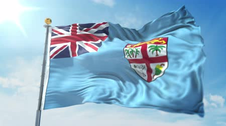 Fiji Islands flag seamless looping 3D rendering video. 3 in 1: clipping in ae. Beautiful textile cloth loop waving