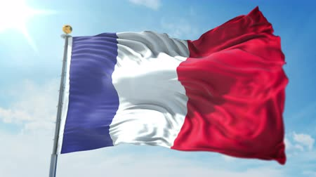 kırpma : France flag seamless looping 3D rendering video. 3 in 1: clipping in ae. Beautiful textile cloth loop waving