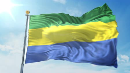 Gabon flag seamless looping 3D rendering video. 3 in 1: clipping in ae. Beautiful textile cloth loop waving Stock Footage