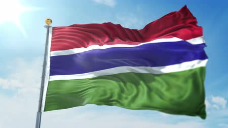 Gambia flag seamless looping 3D rendering video. 3 in 1: clipping in ae. Beautiful textile cloth loop waving