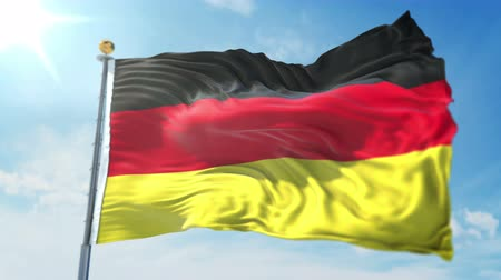 Germany flag seamless looping 3D rendering video. 3 in 1: clipping in ae. Beautiful textile cloth loop waving