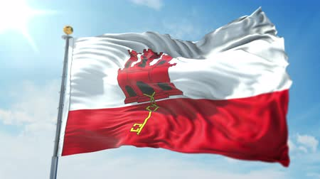 Gibraltar flag seamless looping 3D rendering video. 3 in 1: clipping in ae. Beautiful textile cloth loop waving