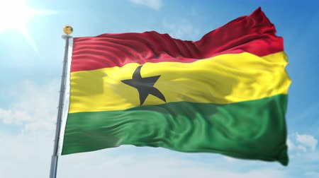 Ghana flag seamless looping 3D rendering video. 3 in 1: clipping in ae. Beautiful textile cloth loop waving