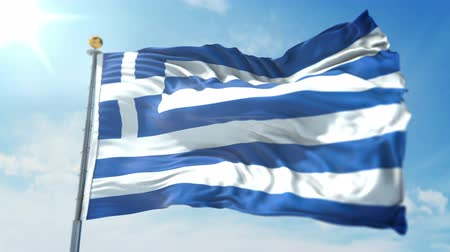 Greece flag seamless looping 3D rendering video. 3 in 1: clipping in ae. Beautiful textile cloth loop waving Stock Footage