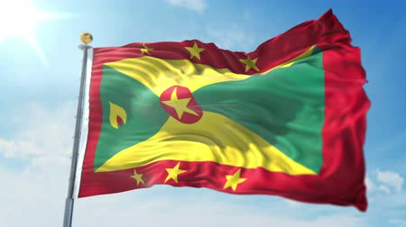 Grenada flag seamless looping 3D rendering video. 3 in 1: clipping in ae. Beautiful textile cloth loop waving