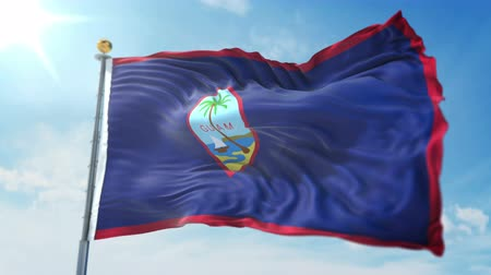 foka : Guam flag seamless looping 3D rendering video. 3 in 1: clipping in ae. Beautiful textile cloth loop waving Wideo