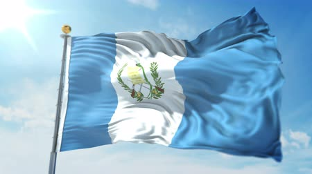 árbocszalag : Guatemala flag seamless looping 3D rendering video. 3 in 1: clipping in ae. Beautiful textile cloth loop waving