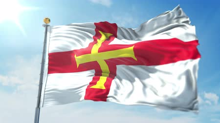 Guernsey flag seamless looping 3D rendering video. 3 in 1: clipping in ae. Beautiful textile cloth loop waving Stock Footage