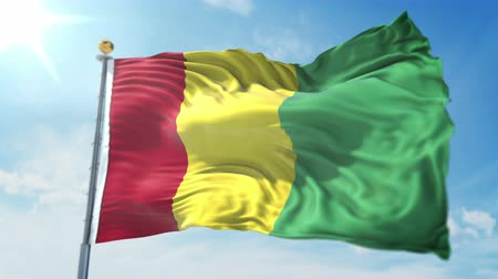 árbocszalag : Guinea flag seamless looping 3D rendering video. 3 in 1: clipping in ae. Beautiful textile cloth loop waving