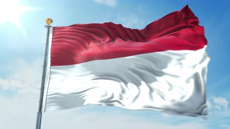 árbocszalag : Indonesia flag seamless looping 3D rendering video. 3 in 1: clipping in ae. Beautiful textile cloth loop waving Stock mozgókép