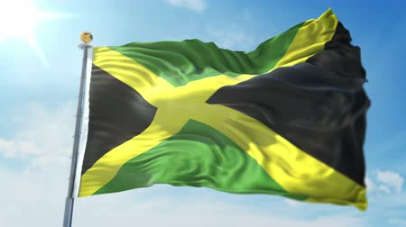 kırpma : Jamaica flag seamless looping 3D rendering video. 3 in 1: clipping in ae. Beautiful textile cloth loop waving