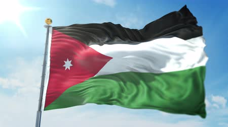 árbocszalag : Jordan flag seamless looping 3D rendering video. 3 in 1: clipping in ae. Beautiful textile cloth loop waving