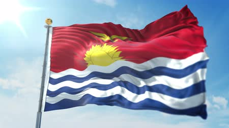 kırpma : Kiribati flag seamless looping 3D rendering video. 3 in 1: clipping in ae. Beautiful textile cloth loop waving