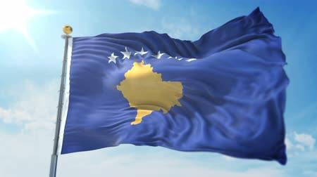 kırpma : Kosovo flag seamless looping 3D rendering video. 3 in 1: clipping in ae. Beautiful textile cloth loop waving