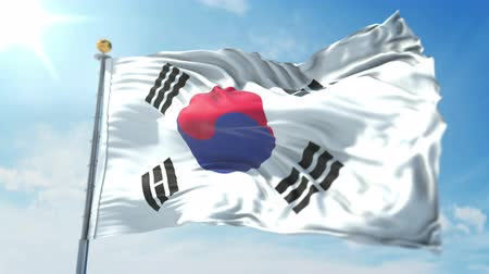 árbocszalag : Korea South flag seamless looping 3D rendering video. 3 in 1: clipping in ae. Beautiful textile cloth loop waving
