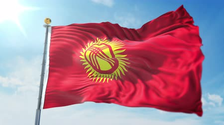 kırpma : Kyrgyzstan flag seamless looping 3D rendering video. 3 in 1: clipping in ae. Beautiful textile cloth loop waving
